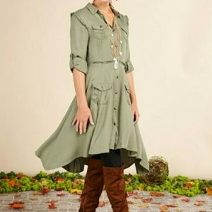 Matilda Jane Olive Green Hi-low Knee Length Dress